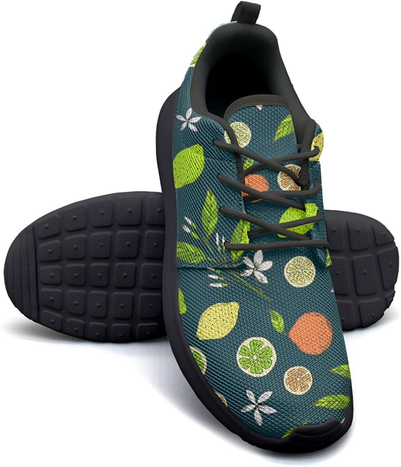 ERSER Citrus Pattern with Yellow Lemons Slice Weighted Running shoes Women