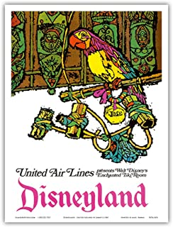 Disneyland - Walt Disney's Enchanted Tiki Room - José the Mexican Macaw - United Air Lines - Vintage Airline Travel Poster by Jebavy c.1968 - Master Art Print - 9in x 12in