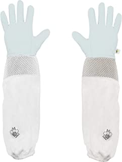 Luwint Kids Premium Goatskin Leather Beekeeping Gloves Beekeeper Protective Gauntlets with Ventilated Mesh Sleeve Cuffs for Gardening Cactus Rose Pruning (Teen Youth(10 – 16 yrs Old))