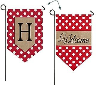 Polka-Dot Welcome Monogram Garden Flag Letter: H