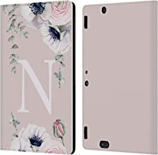 Official Nature Magick Letter N Floral Monogram Pink Flowers 2 Leather Book Wallet Case Cover Compatible for Amazon Kindle Fire HDX 8.9