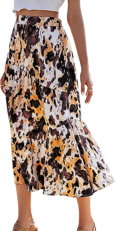 Women Stretchy Basic Summer Mini Skirts High Waisted Swing Versatile A Line Casual Beach Dress
