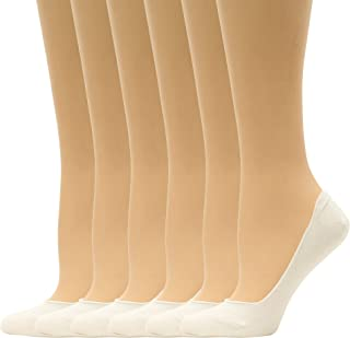Americana 6 Pair Women's Cotton Spandex Non Slip No Show Liner Socks