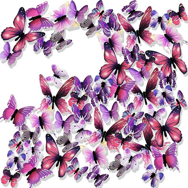 Ewong 3D Butterfly Wall Stickers Arts Decor Crafts For Kids Girls 60PCS Home Decorations For Living Room Baby Bedroom Bathroom Nursery Classroom Office Decals Purple
