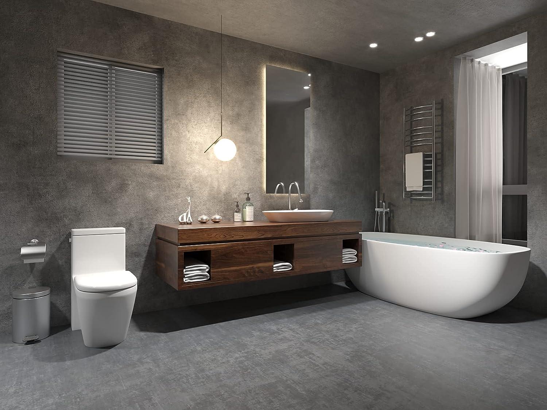 Master bathroom with heated towel rack from Amazon
