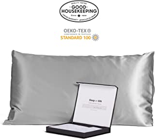 Fishers Finery 30mm 100% Pure Mulberry Silk Pillowcase Good Housekeeping Quality Tested (Silver, King)