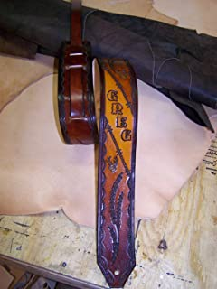 Handmade Leather Personalized Engraved-Guitar Strap- Barbwire Deer Design