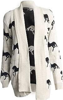 Womens Long Sleeves Cross Skull Star Owl Printed Knitted Cardigan Top