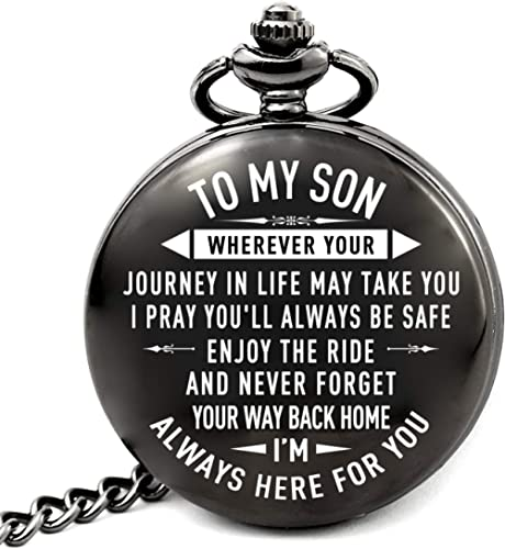 LEVONTA Gifts for Men Husband Son Brother Grandson Dad, Personalized Pocket Watch Gift for Him