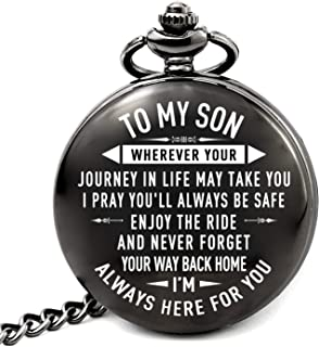 Son Gifts for Christmas Birthday Wedding Graduation, to My Son Pocket Watch from Mom and Dad (Son-Journey-Roman)