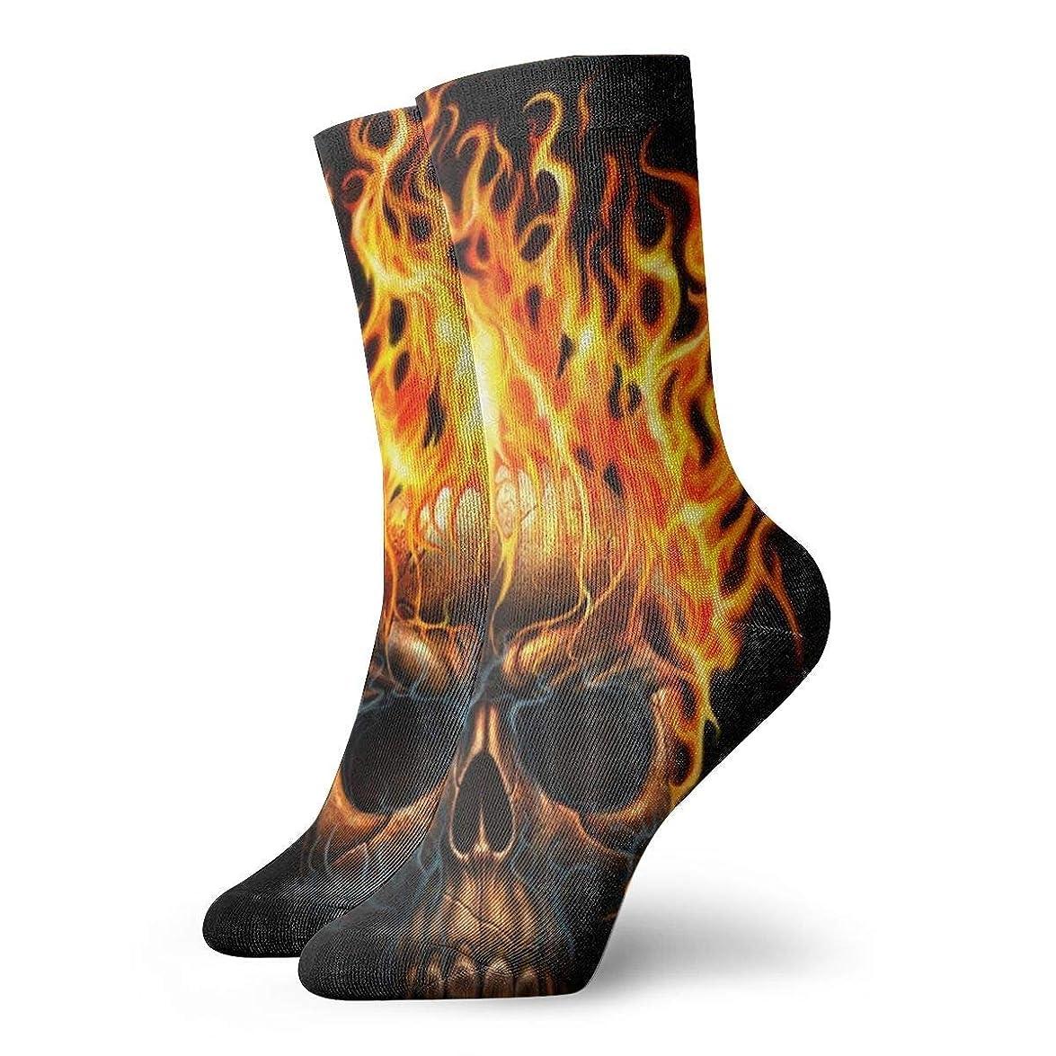 恋人自伝大宇宙Qrriy女性のスカル火炎火災ソフトクリスマス膝高ストッキング靴下、クリスマス楽しいカラフルな靴下ソックス