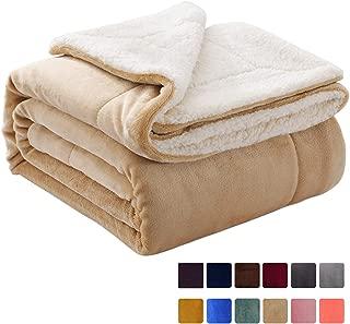 VOTOWN HOME Sherpa Blanket Twin Soft Plush Fuzzy Blanket Reversible Warm Winter Blanket for Bed Micro Fleece Fabric, Beige Twin Size 60