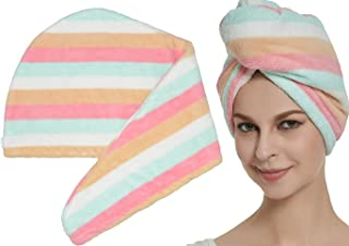 (Multicolor) - HOPESHINE Hair Towel Twist Ultra Absorbent Head Towel Hair Turban Wrap Shower Cap for Women (Multicolor)