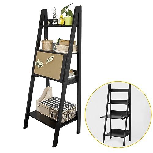 SoBuy FRG115-Sch Table Bureau étagère Murale Style échelle de 3 tablettes, 1 Plan de Travail rabatable et 1 Memo Board -Noir