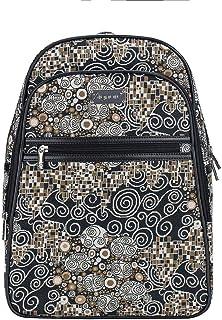 Signare Tapestry Black & White Stylish Rucksack Backpack Book Bag with Front Pocket in Gustav Klimt The Kiss (BKPK-KISS)