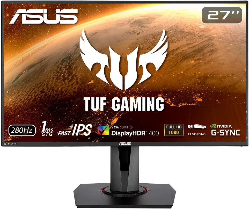 """ASUS TUF Gaming VG279QM 27"""" HDR Monitor, 1080P Full HD (1920 x 1080), Fast IPS, 280Hz, G-SYNC Compatible, Extreme Low Motion Blur Sync (ELMB SYNC), 1ms, DisplayHDR 400,"""