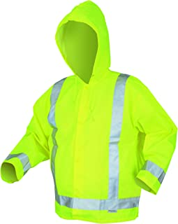 MCR Safety 500RJHL Luminator Class 3 Polyester/Polyurethane Jacket with Attached Hood and 3M Silver Reflective Stripes, Lime Green, Large