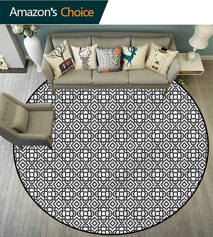RUGSMAT Geometric Modern Round Abstract Area Rug Vintage Jacquard Non Skid Bath Mat Living Room Bedroom Carpet Diameter 24