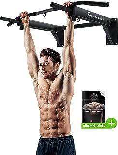 Barra de dominadas KS300 de Sportstech 4en1 para montaje en pared, 3 ranuras para TRX & bolsa de boxeo, 6 empuñaduras antideslizantes, innumerables ejercicios, 8 tacos resistentes incluidos