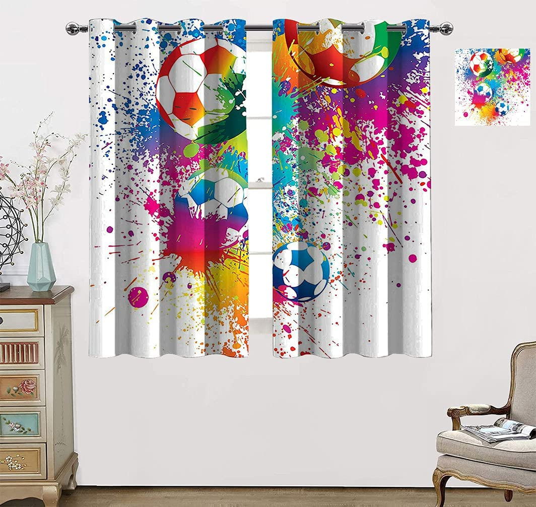 Deluxe Sports Decor Curtains for Cheap sale Living Room Splashes Colored All Over
