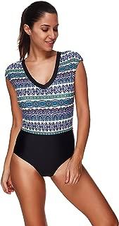 Women's Fashion One Piece Aztec Print Cap Sleeves Rash Guard Swimsuit Swimwear