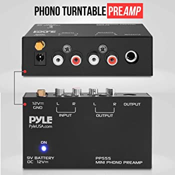 Pyle Phono Turntable Preamp - Mini Electronic Audio Stereo Phonograph Preamplifier with 9V Battery Compartment, Separ...