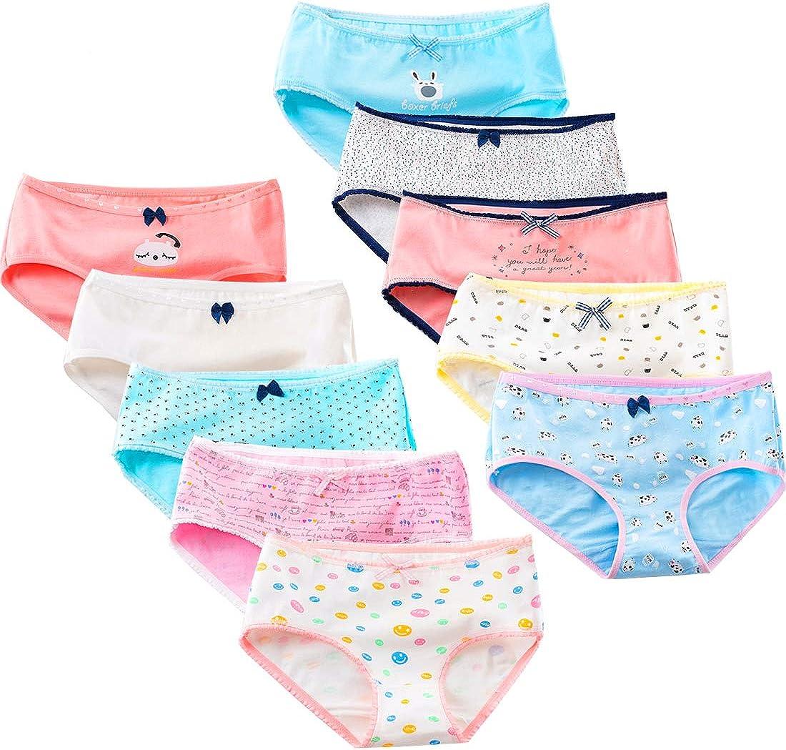 Kidear Big Girls Cotton Underwear 10-Pack Knickers Teenager Girl Mid Rise Briefs Panties