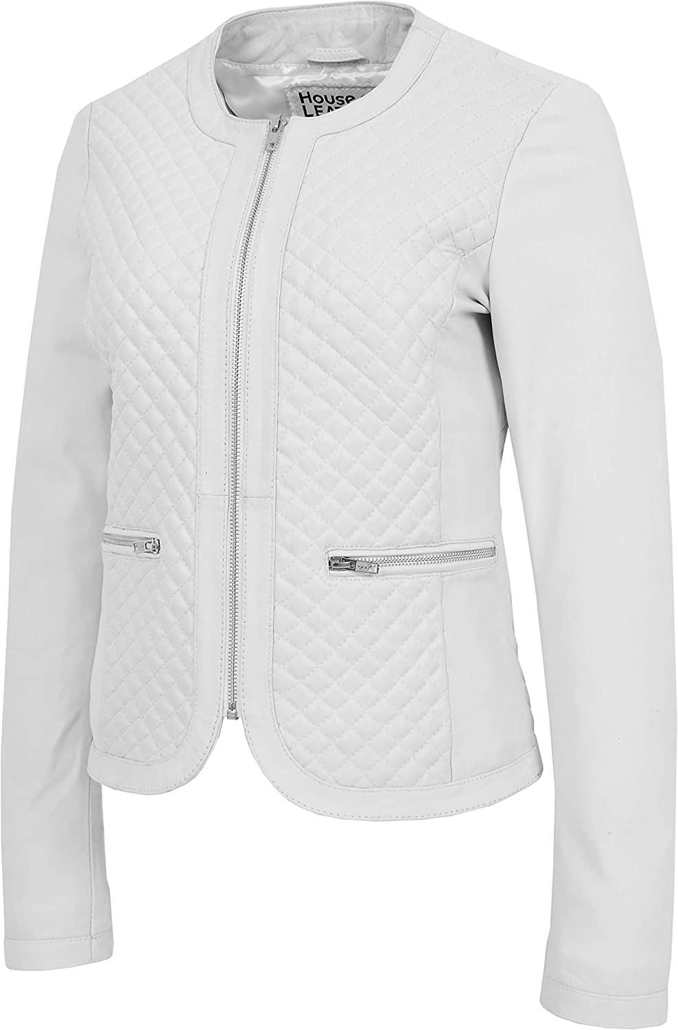 Womens Soft Leather Collarless Jacket Casual Quilted Design Joan White