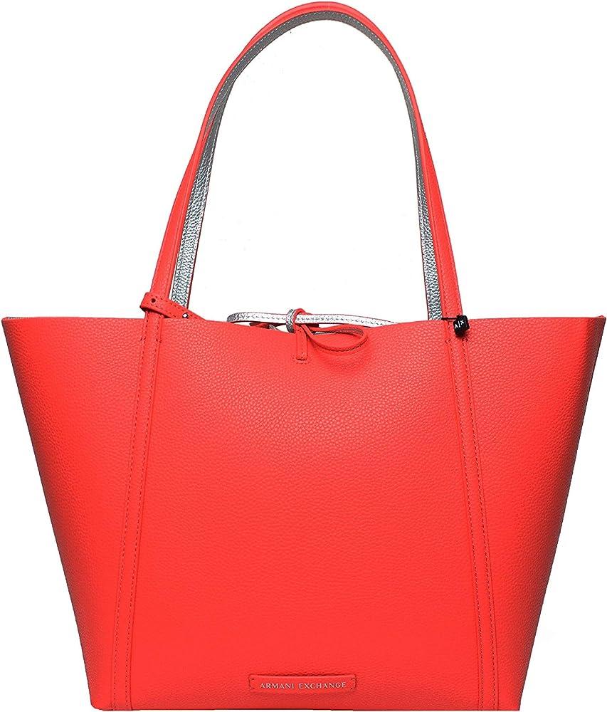 Armani exchange,  borsa per donna reversibile, in ecopelle , doppio colore sangria/argento 942034-CC703-34574