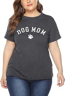 Women's Plus Size T-Shirt Short Sleeve Cat Dog Mom Summer Tee Tunics Tops