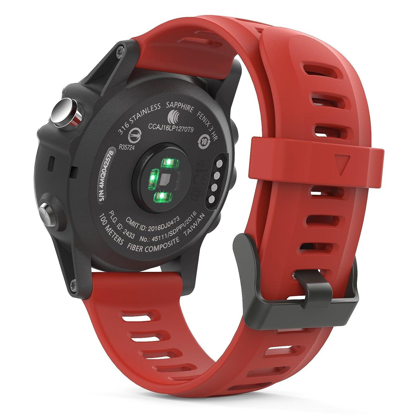 調整する糞匿名Garmin Fenix 3 バンド - ATiC Garmin Fenix 3 / Fenix 3J HR/Fenix 5X / Garmin D2 Delta PX用ソフト 高級 シリコーン製腕時計ストラップ/バンド 交換ベルト RED