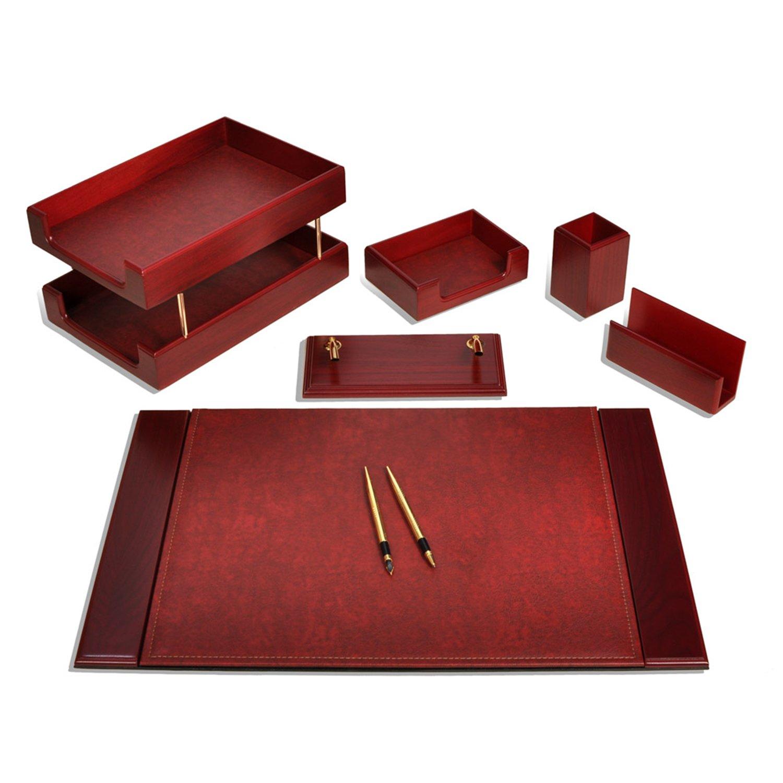 Zera 8 piezas Lujo piel Oficina Organizador Escritorio Set vade ...