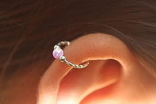 Cartilage Earring Hoop - 20G Sterling Silver helix piercing ear ring - pink opal cartilage earring, silver cartilage hoop