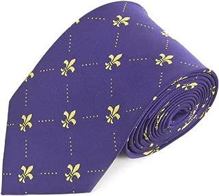 Fleur de Lis Pattern Tie For Men - Diamond Dotted French Fleur-de-Lis Symbol - Traditional Men's Neck Tie