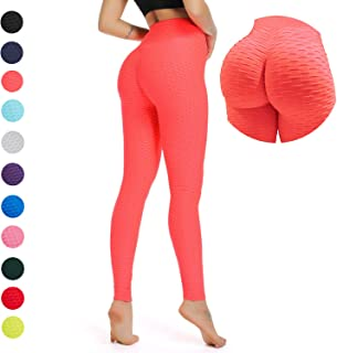 96bb7b2a9501b YOFIT Women Ruched Butt Yoga Pants Lifting Leggings High Waisted with  Pockets Sport Tummy Control Gym