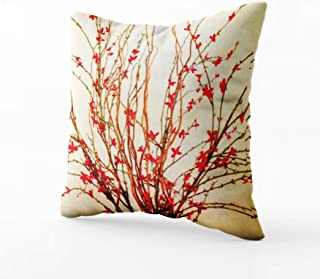 Musesh red flowers on light tan Cushions Case Throw Pillow Cover For Sofa Home Bedding Decorative Pillowslip Gift Ideas Household Pillowcase Zippered Pillow Covers 18X18Inch