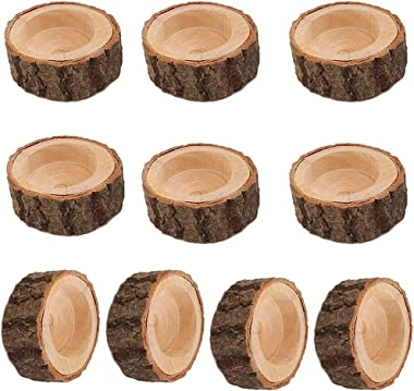 Fityle 10x Wooden Tealight Candle Holder for Wedding Decoration Tree Stump Design - 6x2.5cm