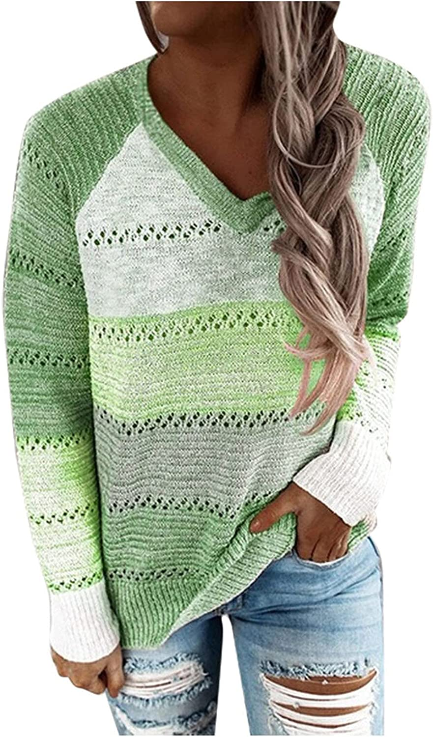 Womens Tops for Fall Winter Loose Fit V Neck Knit Shirts Casual Long Sleeve Pullover Color Block Sweatshirt