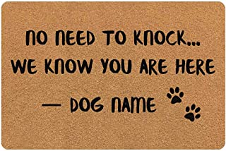 MyPupSocks Personalized Outdoor Doormat Rugs No Need to Knock We Know You are Here Dog's Name Custom Front Door Mats Text ...