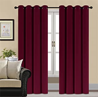 HCILY Blackout Velvet Curtains Red 84 Inch Thermal Insulated for Bedroom 2 Panels (W52'' x L84'', Burgundy)