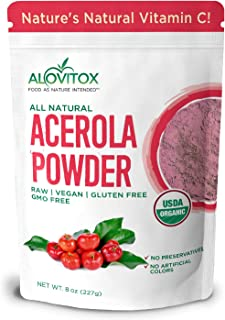 Alovitox Organic Acerola Cherry Powder 8 Oz | Pure, Natural Vitamin C Powder for Immune System Support, Non GMO, Gluten Fr...