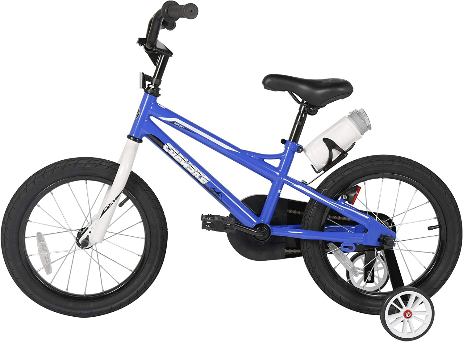 Sporty Kids Bike Stylish Boys and Girls Bikes Steel Frame 14-16 Inch with Training Wheels Water Bottle for Toddlers and Children Age 3-7 Height 35-50