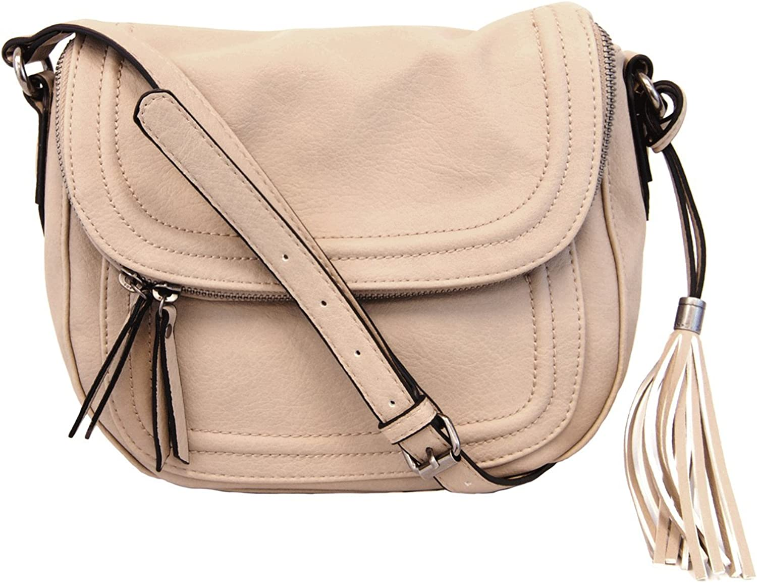 Joy Susan Sophia Crossbody Zippered Flap Bag with Tassel