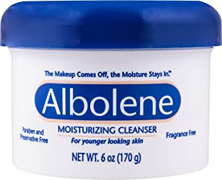 Albolene Moisturizing Cleanser | 3-in-1 Skin Care Product: Makeup Remover, Facial Cleanser and Moisturizer | No Soap or Water Needed | 6 Ounce (Pack of 1)