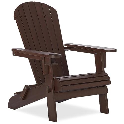Strathwood Basics Adirondack Chaise De Jardin Avec Porte Gobelet Marron Fonce