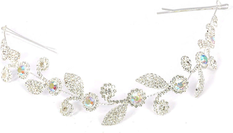 Topwholesalejewel Crown Tiara Princess Headband Stylish Rhinestone with Pin for Wedding