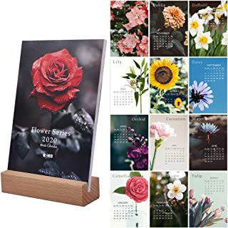 UCEC 2020 Desk Calendar, 4 x 6 Inch Small Mini Desktop Calendar, Flower Photo Monthly Calendar with Easel Stand, Gift for Her, Colorful Home Office Decor