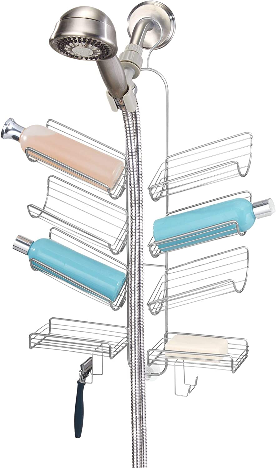 iDesign Verona Metal Wire Hanging Shower Caddy for Hand Held Shower Heads, Space for Shampoo, Conditioner, and Soap with Hooks for Razors, Towels, and More, 14