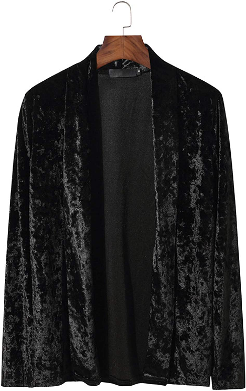 Men's Basic Long Sleeve Lapel Shawl Sweater Coat Fashion Pure Color Streetwear
