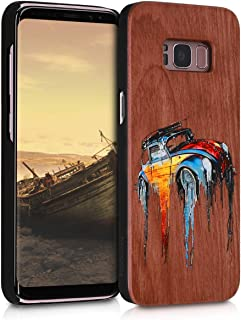 kwmobile Wood Case Compatible with Samsung Galaxy S8 - Non-Slip Natural Solid Hard Wooden Protective Cover - Wood Painted Buggy Multicolor/Brown